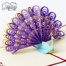 3D Laser Cut Paper Cutting Peacock Greeting Card Custom Postcards  Happy Birthday Wedding Party Proms Wishes Invitations Gifts
