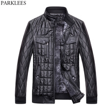 Buy Winter Leather Jacket Men 2017 Thicker Velvet PU Leather Motorcycle Jackets Chaquetas Hombre Casual Slim Fit Quilted Jacket Coat for $33.10 in AliExpress store