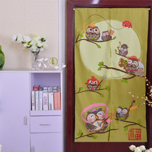 Japan Style 85x170cm Polyester Door Valance Cartoon Owl Printed Cute Living Room Cafe Short Curtains Kids Bedroom Decor Cloth