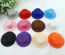 Wholesale Plain Hen Mini Top Hat 5.5CM Party Headwear Hat  Base For DIY Hair fascinator base Doll hat. 12 colors 50pcs/Lot