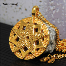 Man's Doul Star Of David Medal Necklace S.Steel Golden Tantris Jewish Jewelry Star Solomon Seal Hexagram Necklace MT1507(China)