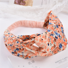 Woman Chiffon Flower Wide Headband Girls Fashion Elastic Headwrap Floral Hairband Bohemian Summer Beach Pretty Hair Accessories