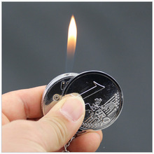 Fashion Creative Mini Coin Shaped Butane Flame Lighter Metal Torch Lighter Novelty Gadget Gift Key Accessories NO GAS
