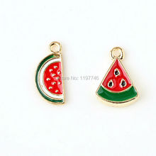 Cute Mini Enamel Watermelon Charms Triangle Or Half Round Melon 10pcs Metal Zinc Alloy Fruit Charm Pendant For Jewelry
