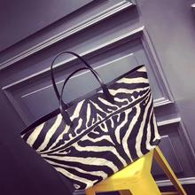 2017 Autumn New Pattern Zebra Stripe colours combined Large capacity mummy bag Europe leisure bag Casual Tote Handbags