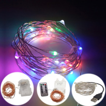 10M 100leds Copper Wire led string rgb led light color Battery Operated with 13keys controller silver wire USB port led string(China)