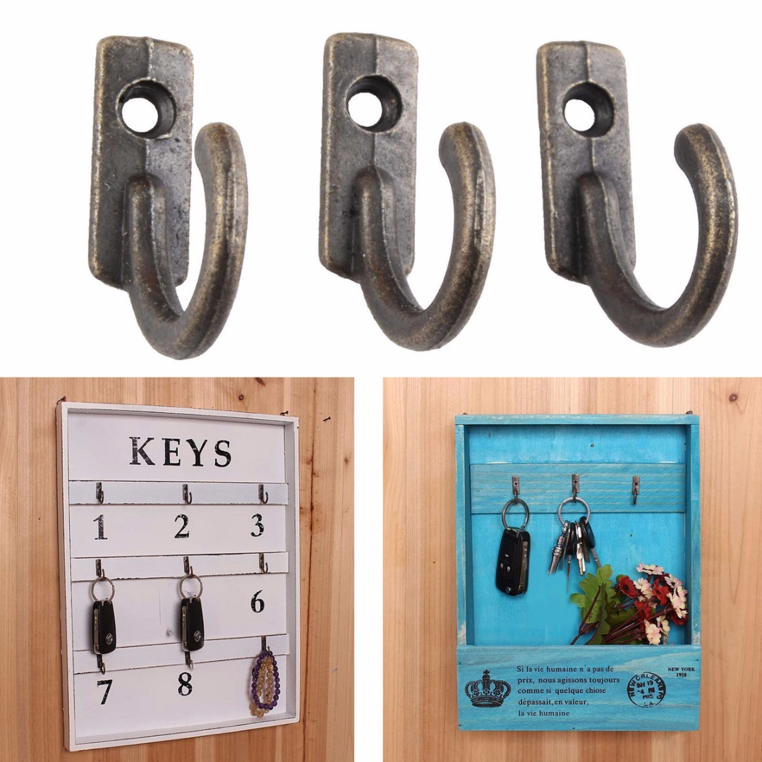 10Pcs Antique Wall Hooks Mounted Hooks Wall Key Holder Coat Hanger Decorative Hanging Hooks for Door Wall