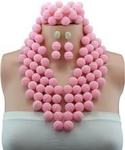 2016 Nigerian Wedding Fabulous nigerian wedding african beads jewellry set pink costume necklaces jewelry set NAF359