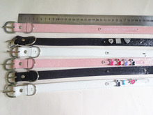 wholesale price 1pcs  600*20mm(width)*10mm Sequin PU Leather  Fit Pet Gog Collar Can Via 10mm Slide charms