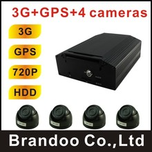 3G CAR DVR, Mexico hot sale,HDD recording, 4 channel 720P, used for bus,truck,taxi,model BD-307WG