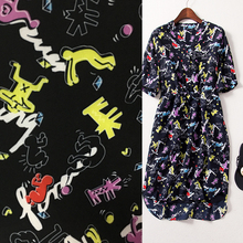 Patchwork Fabric Tissus Patchwork Cute Cartoon Printing Space Cotton Fabrics Imported Abstract Color Thin Air Villain Black