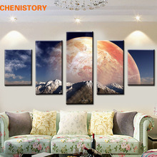 Unframed 5 Panel Big Moon Surface Modern Home Wall Decor HD Canvas Print Painting Wall Art Picture For Living Room Decoration