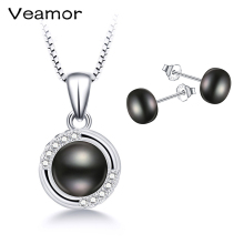 Amazing Price High Quality Black Pearl Jewelry Sets Silver 925 Jewelry Necklace Pendant Exquisite Earrings Wedding Gift VEAMOR(China)