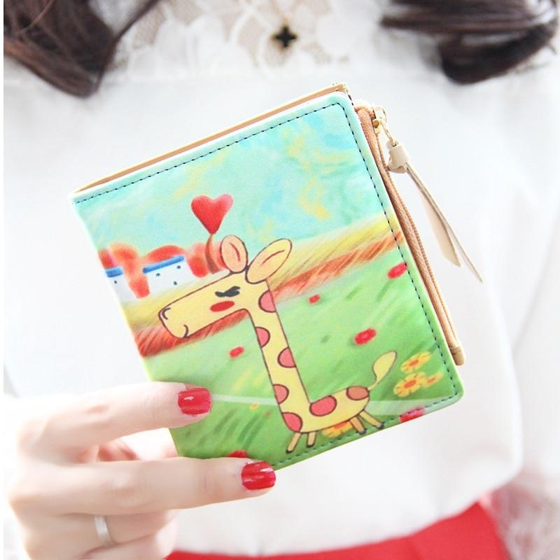 Women Fresh Fashion Watercolor Cat Printing Long Wallet Coin Purse Card Handbag