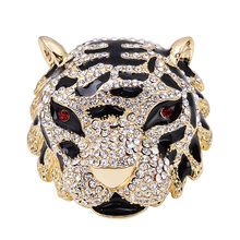 OBN Vintage Large Black Enamel King Tiger Brooch Rhinestone  Men Lapel Pin Jewelry