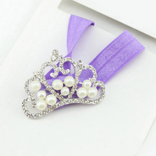 1 Pcs Head Accessories Cute Kids Girl Princess Elastic Crown Pearl Headband For Kid With 5 Colors(China)