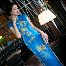 Buy New Arrival Vintage Chinese Style Women Long Silk Cheongsam Qipao Summer Novelty Print Sexy Dress S M L XL XXL F081254 for $46.41 in AliExpress store