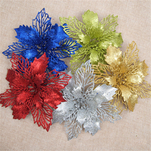 1Pcs 15/18cm Gold Silver Red Christmas Flower Glitter Christmas Tree Ornaments Festival Party Home Xmas Decoration