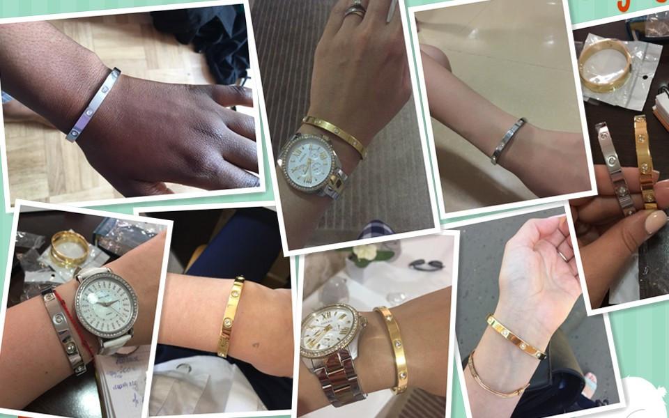 Trendy Rose Gold Love Bracelets Bangles Women Gold Color Stainless Steel Charming CZ Cuff Bracelet Lovers Luxury Brand Jewellery 7