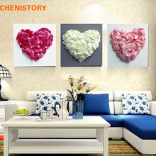Unframed 3 Panel Love Heart Flower Modern Abstract Print Painting On Canvas Wall Art Picture For Wedding Decoration Unique Gift