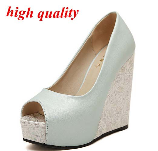 women party sandals summer style Open Toe Sandals flower Print High-heeled Shoes Wedges Womens pumps wedding Shoes white Y599<br><br>Aliexpress