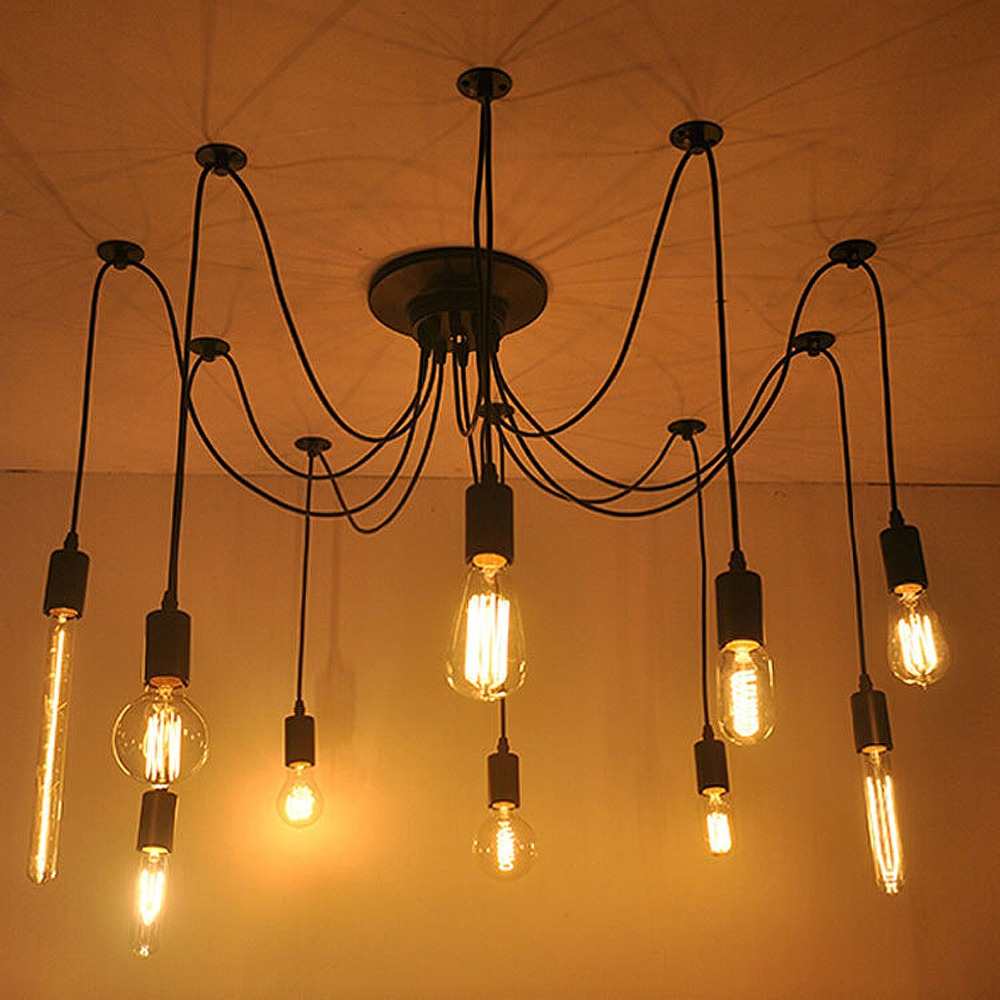 AISTARRY Vintage Edison Hanging Lamp Multiple Ajustable DIY Ceiling Spider Lamp Pendant Light Modern for Cafe Restaurant Home<br>