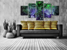 No Frame Green Big Tree Canvas Painting 5 Pieces Pictures Wall Art Home Decor Modular Wall Paintings For Living Room Artwork