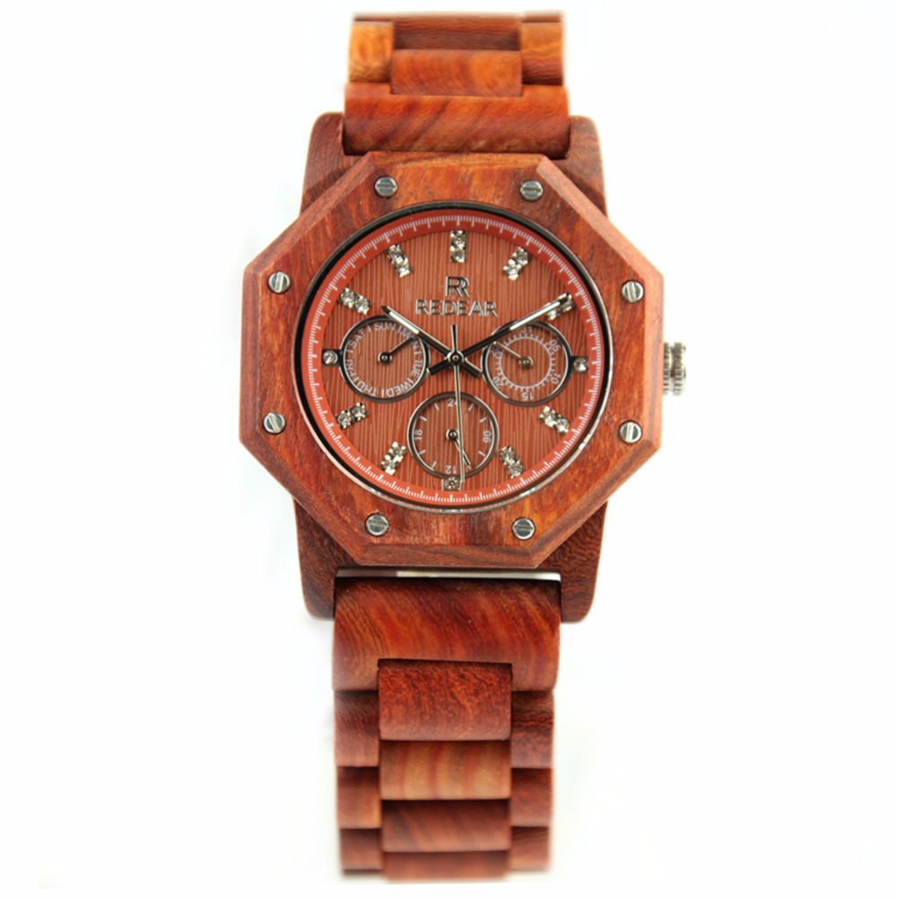 REDEAR Wood Watch Mens Quartz Watch Top Brand Luxury Handmade Wooden Wrist Watch relojes hombre<br>