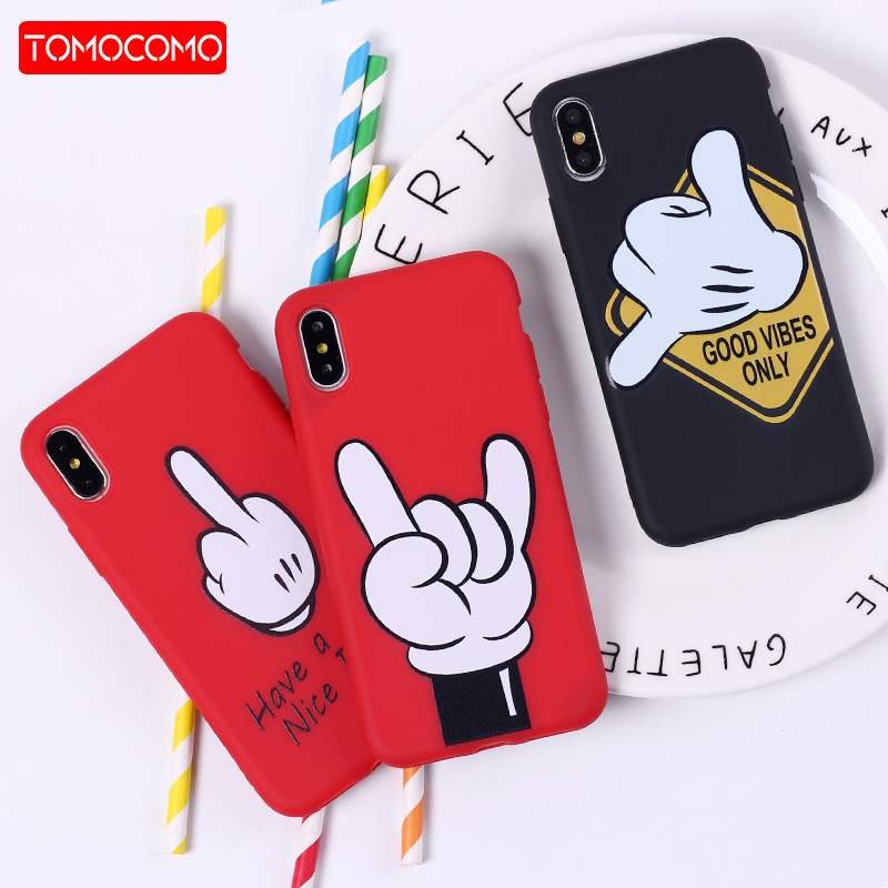 Mickey Mouse Hand Gesture Pattern Soft Silicone Phone Case Coque Fundas For iPhone5 6 6Plus 7 7Plus 8 8Plus X XS Max(China)