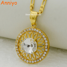 Anniyo Fashion necklace & pendant round gold color jewelry rhinestone for women men Ethiopian/Eritrea/Nigeria/Congo/Arab