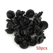 50 Pcs 8mm Universal Automobile Bumpers Hole Plastic Push Screw Rivet Panel Fixings Clips Black 13905 For Mazda For Renault(China)