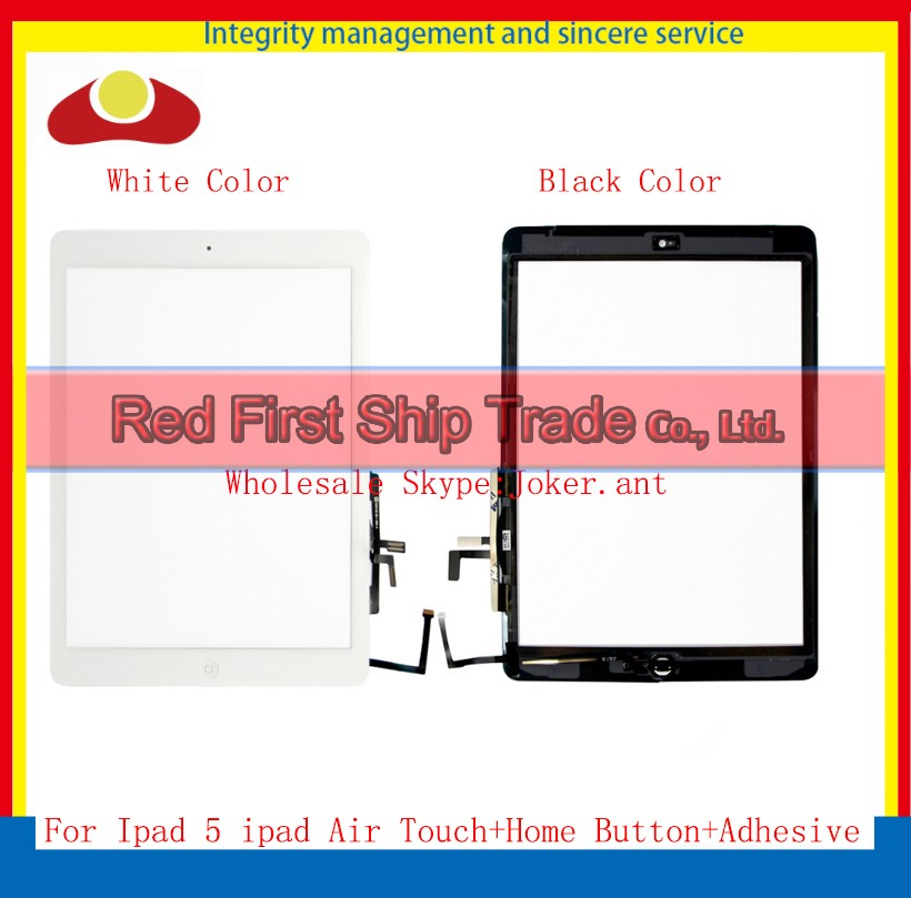 High Quality For Ipad Air 5 Touch Screen Digitizer Sensor+ Home Button + Flex Adhesive Assembly Glass Panel White Black<br><br>Aliexpress