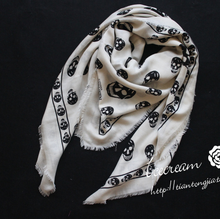 New Brand Wool Mixed Silk Scarf Printing Skull Scarves For Women Skulls Print Designer Winter Scarf High Quality Shawl S208