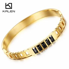 Kalen Fashion Stainless Steel Peru Gold Color Glass Charm Bangle & Bracelet For Women Rose Gold Color Hinged Wristband Jewelry