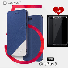 OnePlus 5 Case Flip Wake Sleep with Card Slot Holder Flip Leather Cover for One Plus 5 Five 1+5 A5000 Blue Gold Original CAPAS(China)