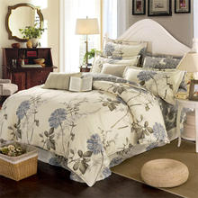 Beautiful Plant Print Cotton Bedding Set Duvet Cover Bedspread Flat Sheet with Pillow Cases 4pcs Bed Lines