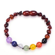 Newest baltic ambar bracelet cherry cognac honey ambar baby teething bracelet with natural beads 7 chakra bracelet