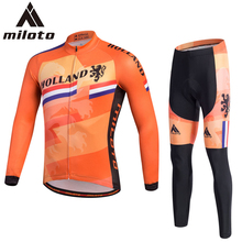 2017 Mens Cycling Jersey Set Spring Autumn Bike Clothing Kits MTB Road Riding Ropa Ciclismo 3D Gel Pad Pants Sport Wear Orange(China)