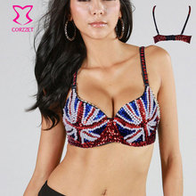 Sexy Studded Bras For Women British Flag Beads and Sequins Push Up Bra Top Underwear 32B - 40B Stripper Pole Dancewear Brassiere(China)