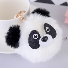 Fashion Plush Panda Doll Key Chain Ring Woman Faux Rabbit Fur Pompom Bear Bag Charms Keychain Toy Car Keyring Party Trinket Gift