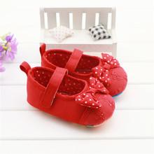 Cute Baby Girl Shoes Sweet Polka Dots Bowknot Embroidered Flower Red Toddlers Baby Girls First Walkers Zapatos Para Ninas 0-18M