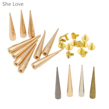 10pcs 7*40mm Screwback Spikes Cone Studs Silver Golden Punk Rock leathercraft Rivet(China)