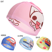 JETTING Wholesale Price Lovely Children Cartoon Swimming Cap PU Fabric Diving Waterproof Shark Red Water Sports