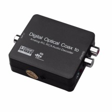 Easy Install NK-Y1 Digital Fiber Optic Switch To Analog R L RCA Audio Decoder For Switching Signal Black