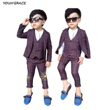 2016 New 3PCS Boys Red Plaid Formal Wedding Suit Gentle Boys Winter & Spring Blazers Kids Party Evening Tuxedos Boys Suits, C155