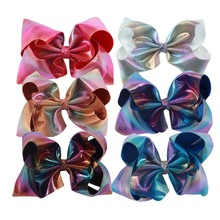7Inch WOmen Girl Leather Big Hair Clip Fashion Large Hair Bow With Clips Barrettes For Kid Head Accessories