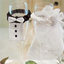 2Pcs Lot Wedding Bride Groom Dress Wine Cups Wraps Champagne Glass Bottles  Cover Wedding Party Events DIY Decoration Ornaments 837c0645b278