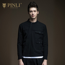 Military Time-limited Fashion O-neck Standard Pinli 2017 New Spring Men's Slim Jacket Coat Male Oblique Placket B171204053(China)