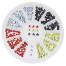 Women Cheap Nail Jewelry 4 Color Assorted Star Design 3D Nail Art Decorations Stud Material Supply Nail Wheel Make Up Tool WY175