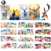 Nail Salon 1pcs Watermark Stickers DIY Nail Decals Water Transfer Snowman Elk Cartoon Christmas Designs Manicure SABN229-240